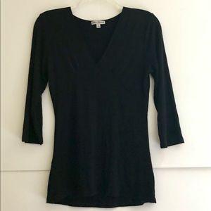 Gorgeous Black Very Soft Jersey Knit V-Neck Blouse
